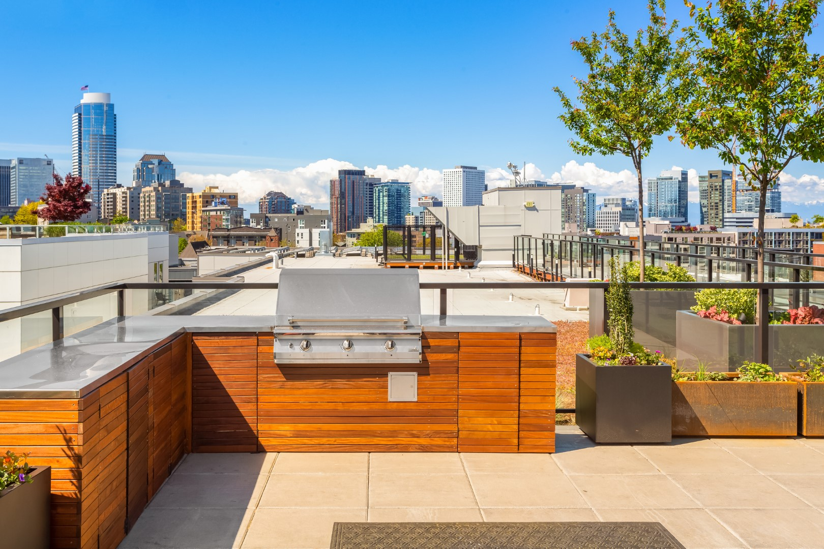 A gas BBQ on top of the roof for residents and guests at Jack Apartments in Capitol Hill.